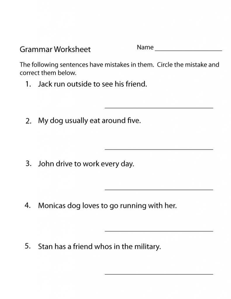 3rd Grade Grammar Worksheet