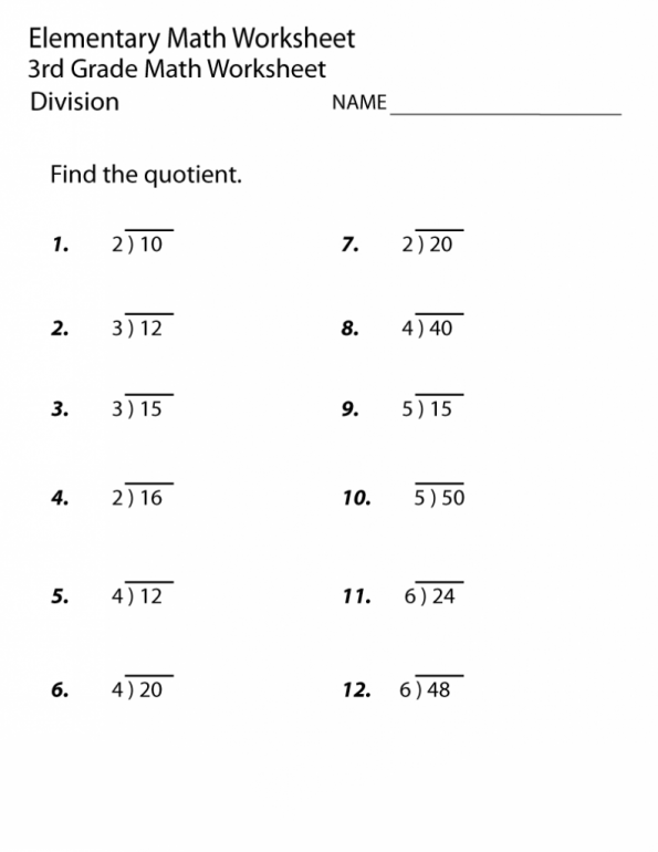 3rd Grade Math Division Worksheet