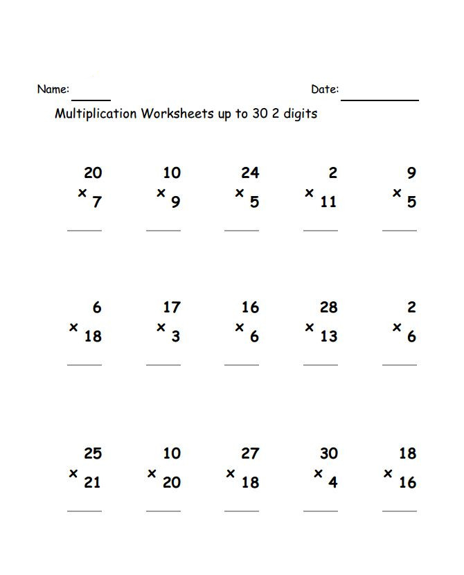 3rd Grade Multiplication Worksheets - Best Coloring Pages ...