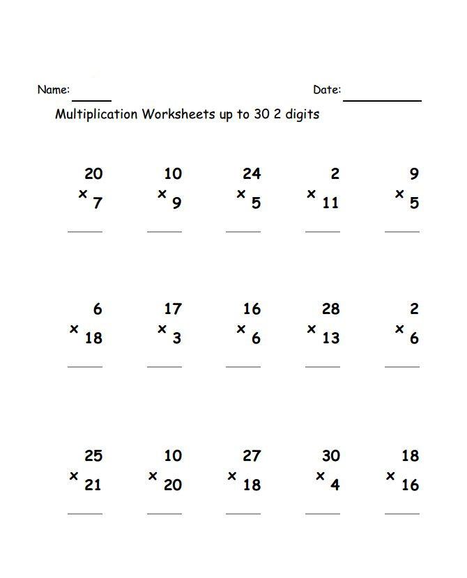 3rd Grade Multiplication Worksheets - Best Coloring Pages For Kids