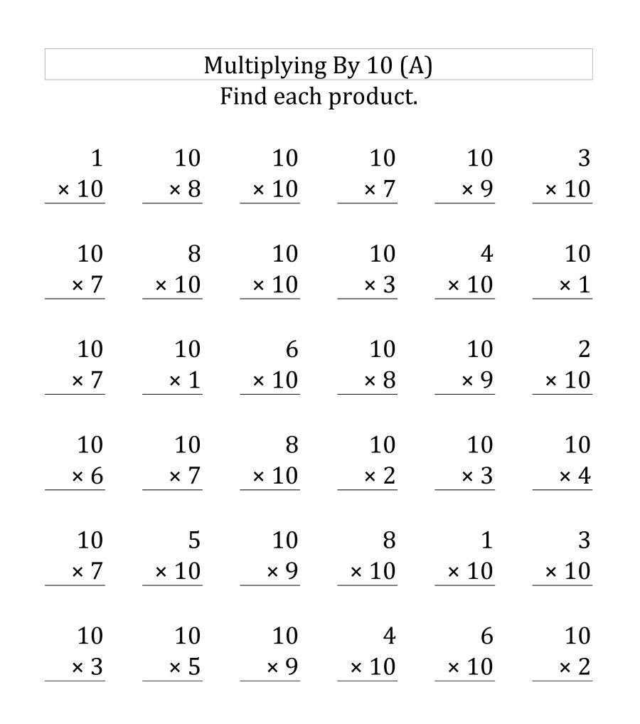 3rd Grade Multiply by 10 Worksheet