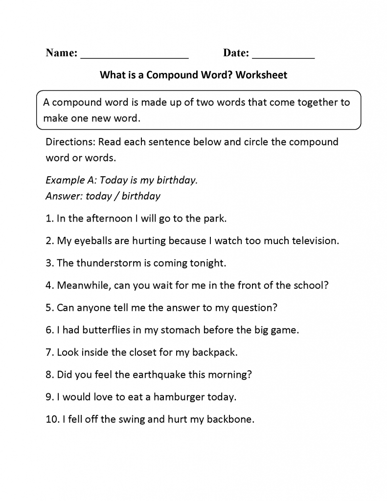 3rd Grade Worksheets Compound Words