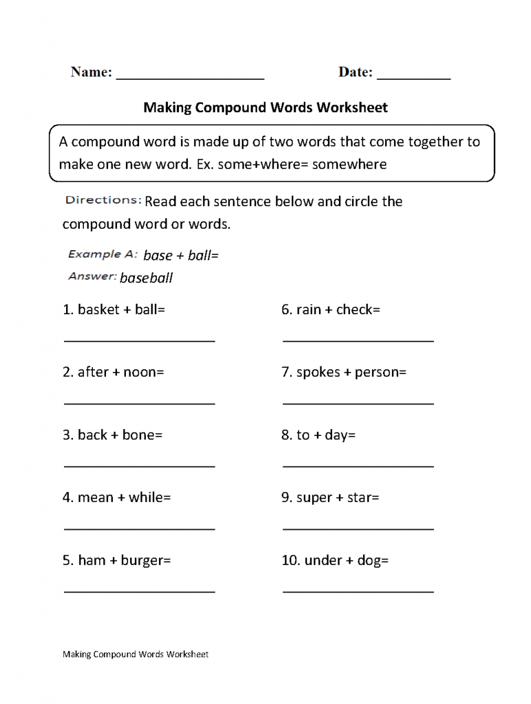 3rd Grade Worksheets Compounds