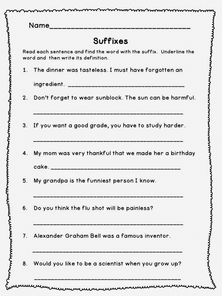 3rd Grade Worksheets Suffixes