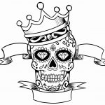 Adult Coloring Page Skull and Crown