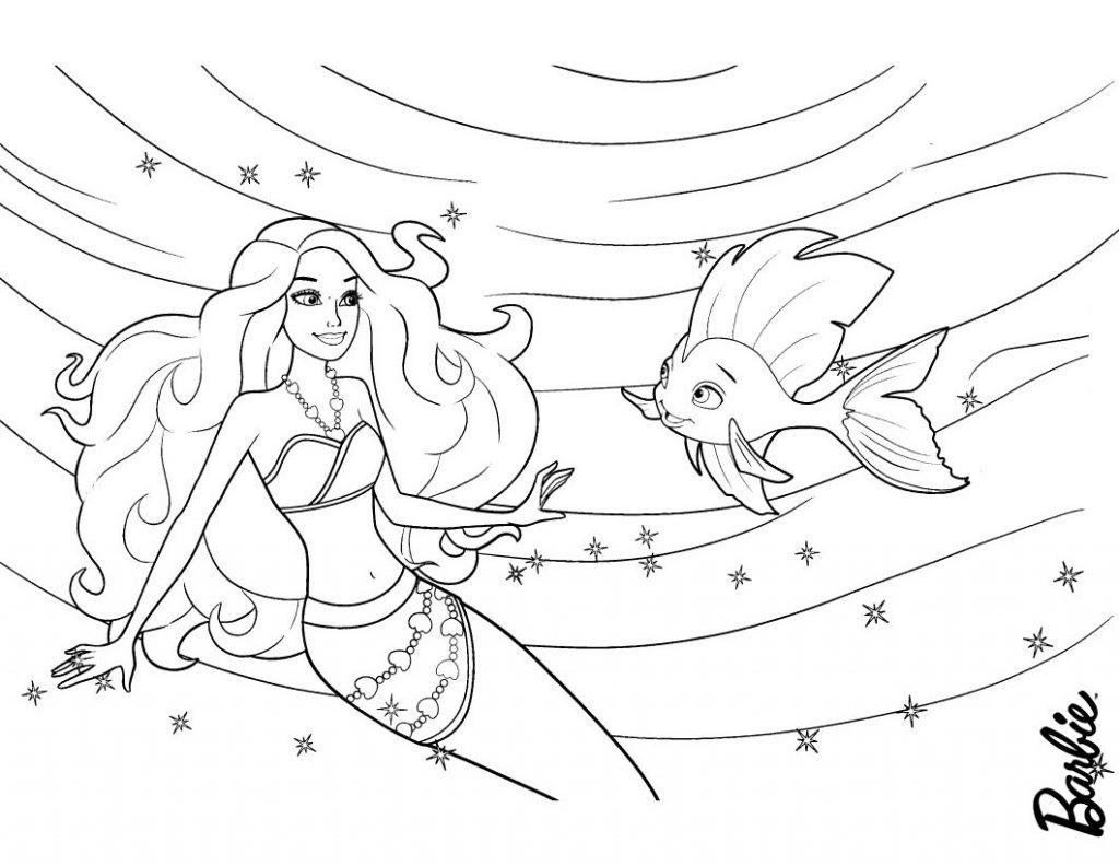 Barbie Mermaid Fish Friend Coloring Page