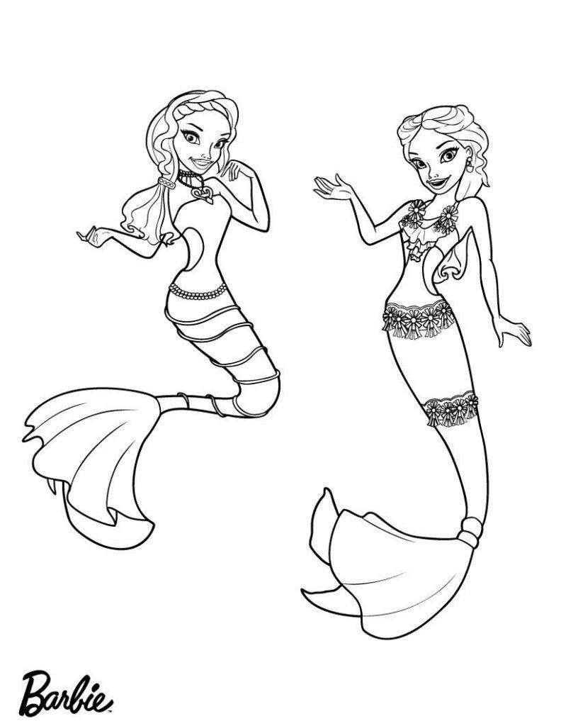 Barbie Mermaids Coloring Pages