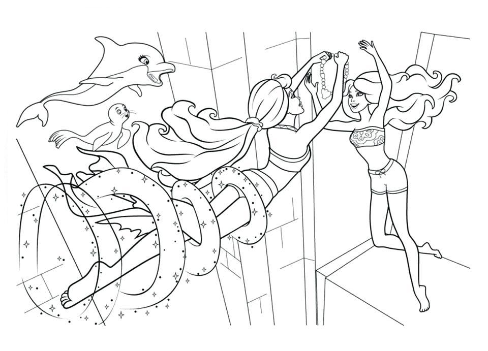 Barbie Mermaids Dance Coloring Page