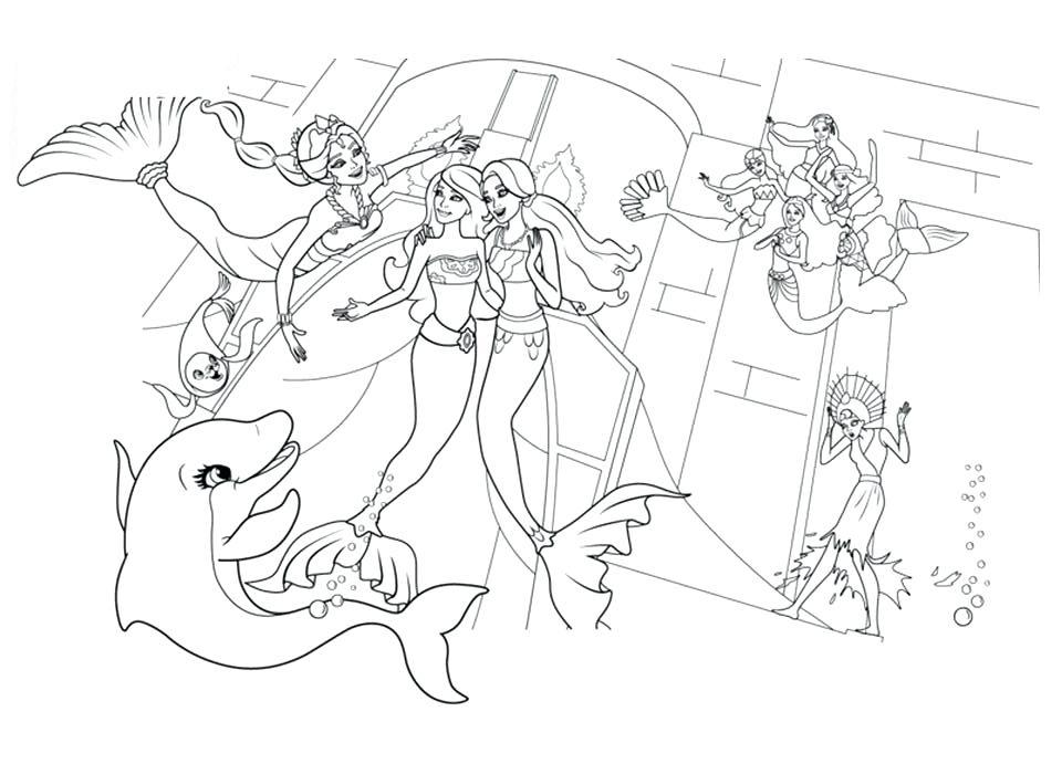 Barbie Mermaids Free Coloring Page