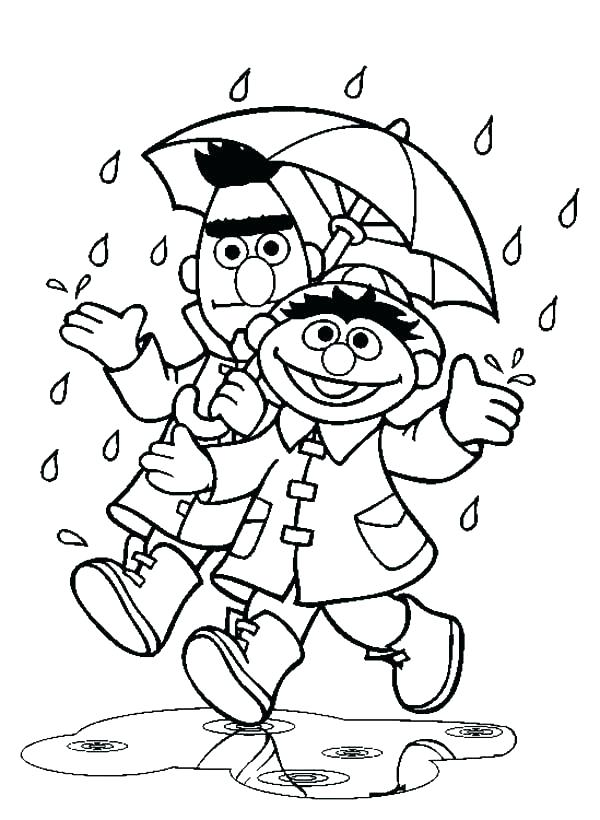 Bert and Ernie Rain Coloring Pages