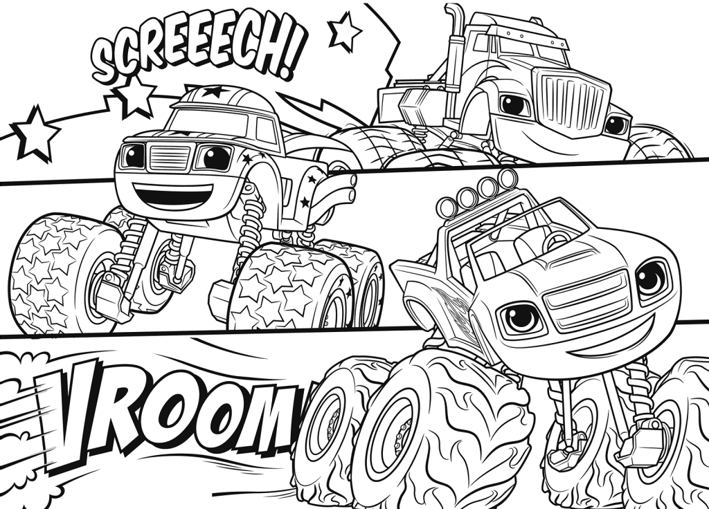 blaze and the machines coloring pages best
