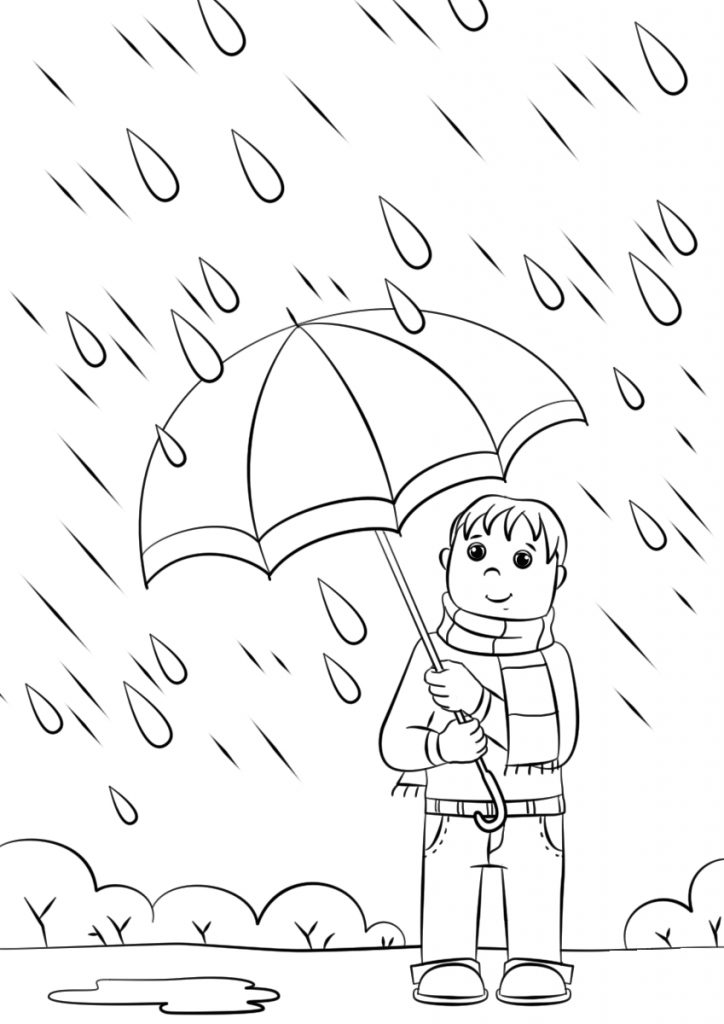 Boy in Rain Coloring Pages