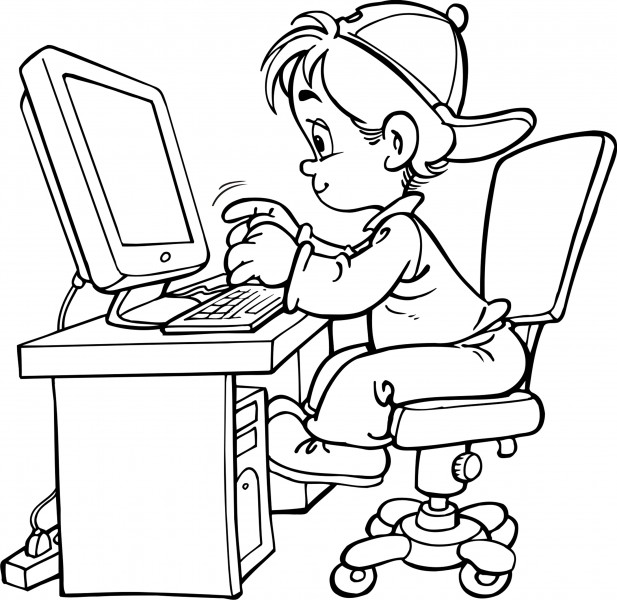 Boy on Computer Coloring Pages