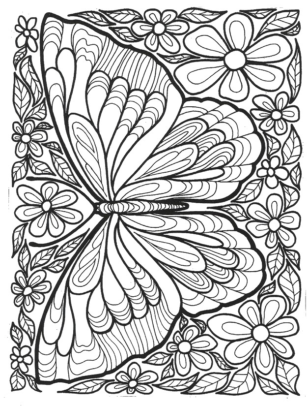 Butterfly Design Adult Coloring