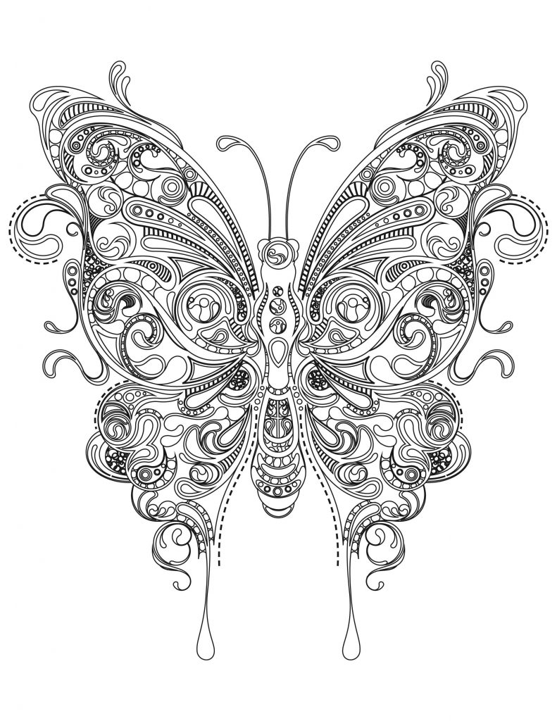 Butterfly Design for Adult Coloring
