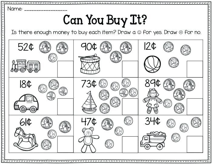 Can you Buy It 2nd Grade Money Worksheet