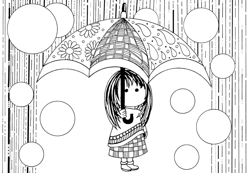 Cartoon Rain Coloring Pages