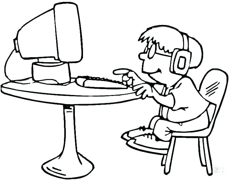 Child on Computer Coloring Pages