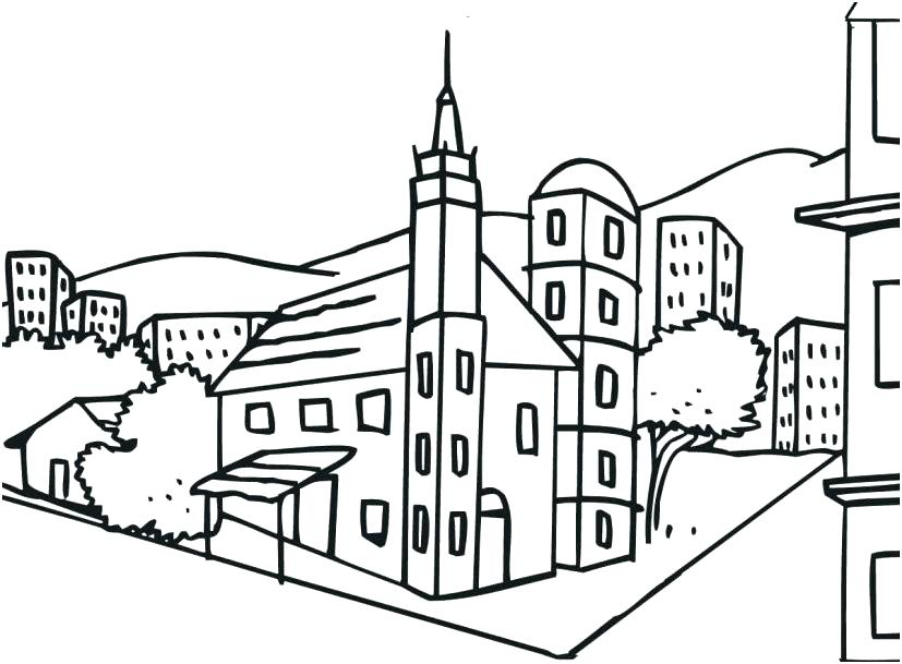 City Church Coloring Pages