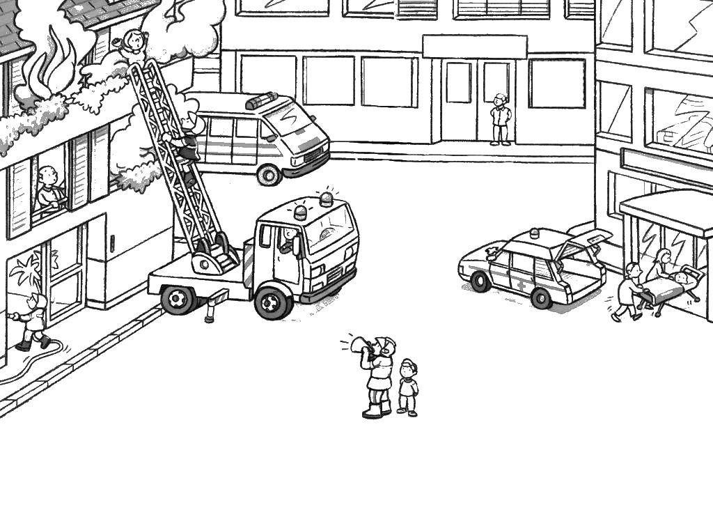 City Fire Coloring Pages