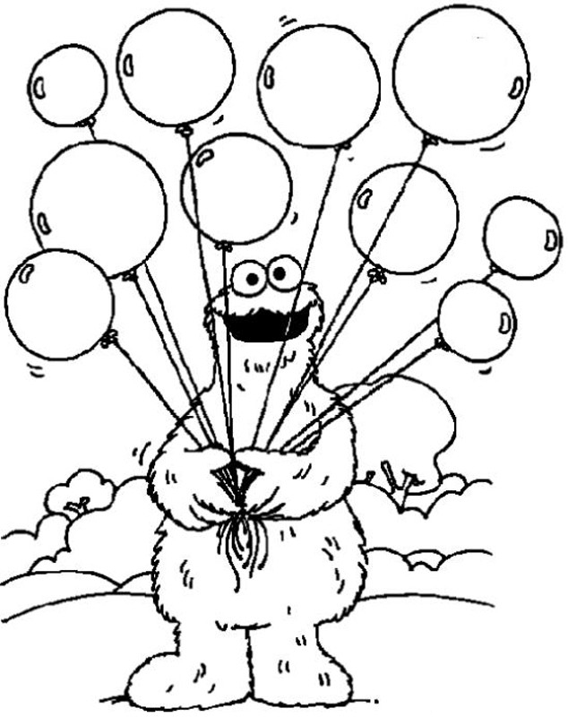 Cookie Monster Balloons Coloring Page
