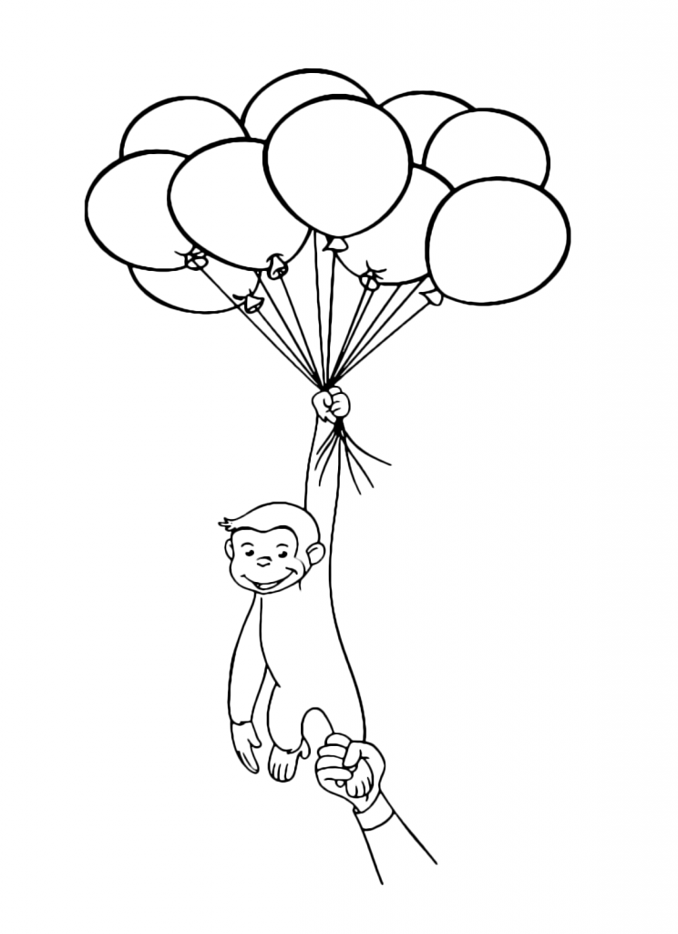 Curious George Balloon Coloring Page