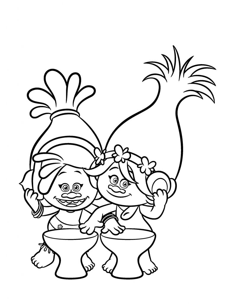 Cute Poppy Printable Trolls Coloring Page