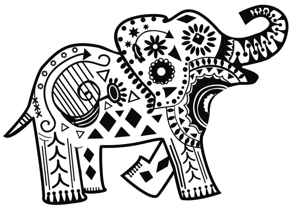 Cute Toy Elephant Coloring Pages for Adults