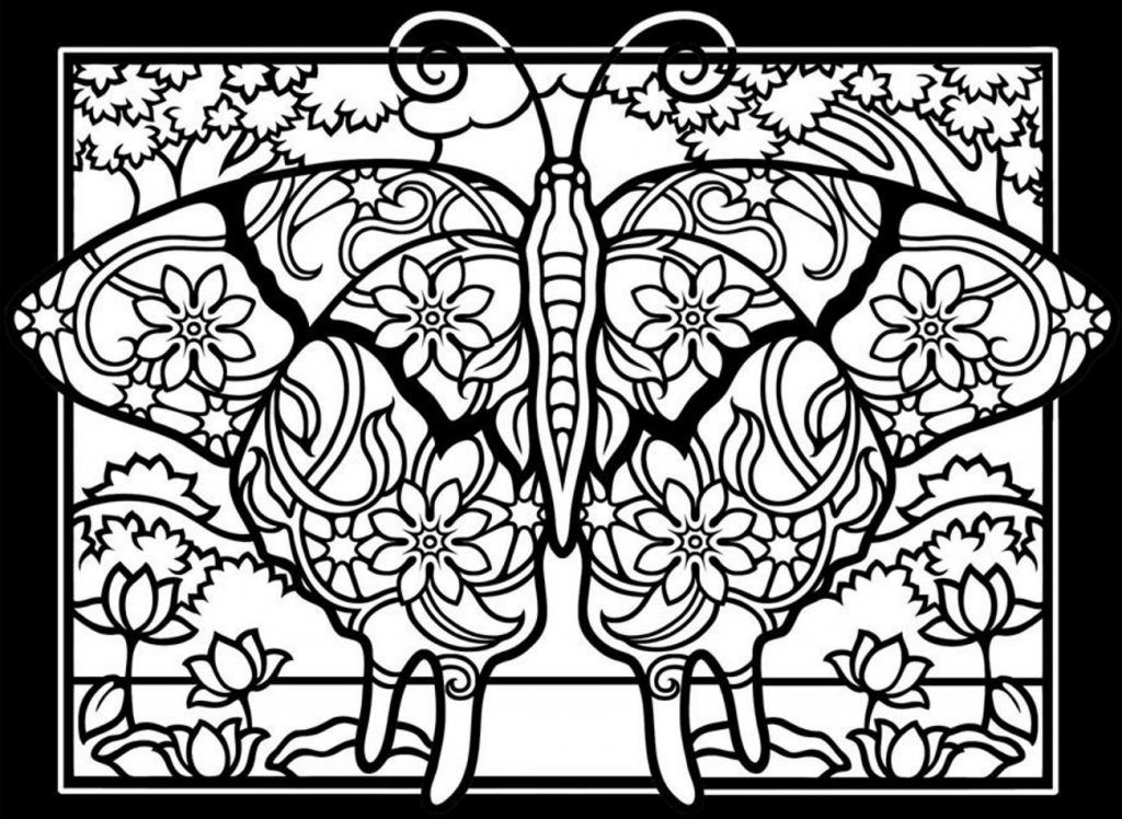 Detailed Butterfly Coloring Pages for Adults