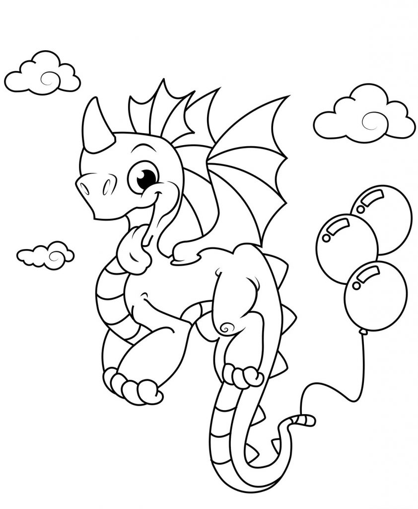 Dragon Balloon Coloring Page