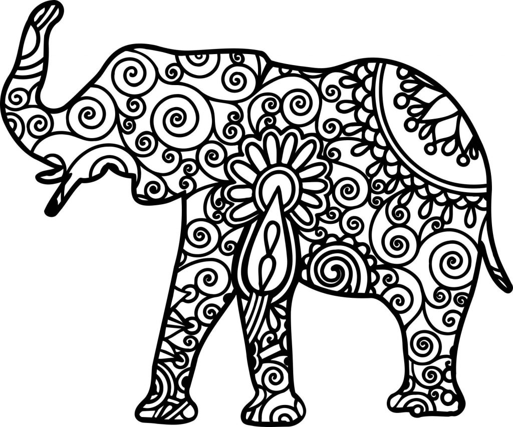 Elephant Design for Adults to Color