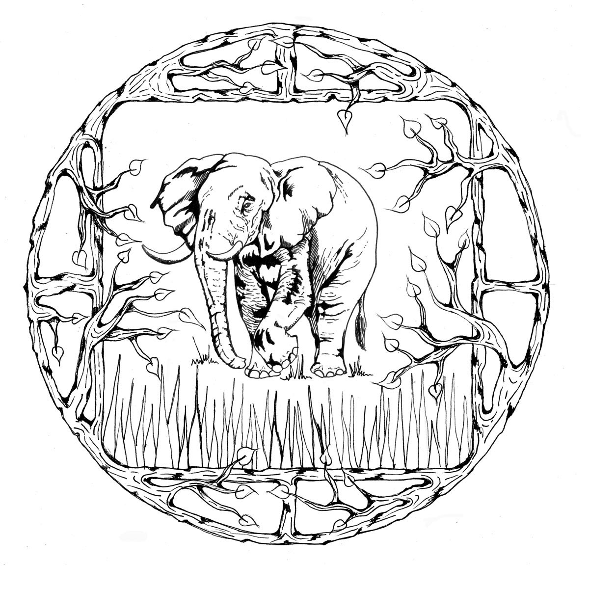 Elephant Mandala Coloring Pages for Adults