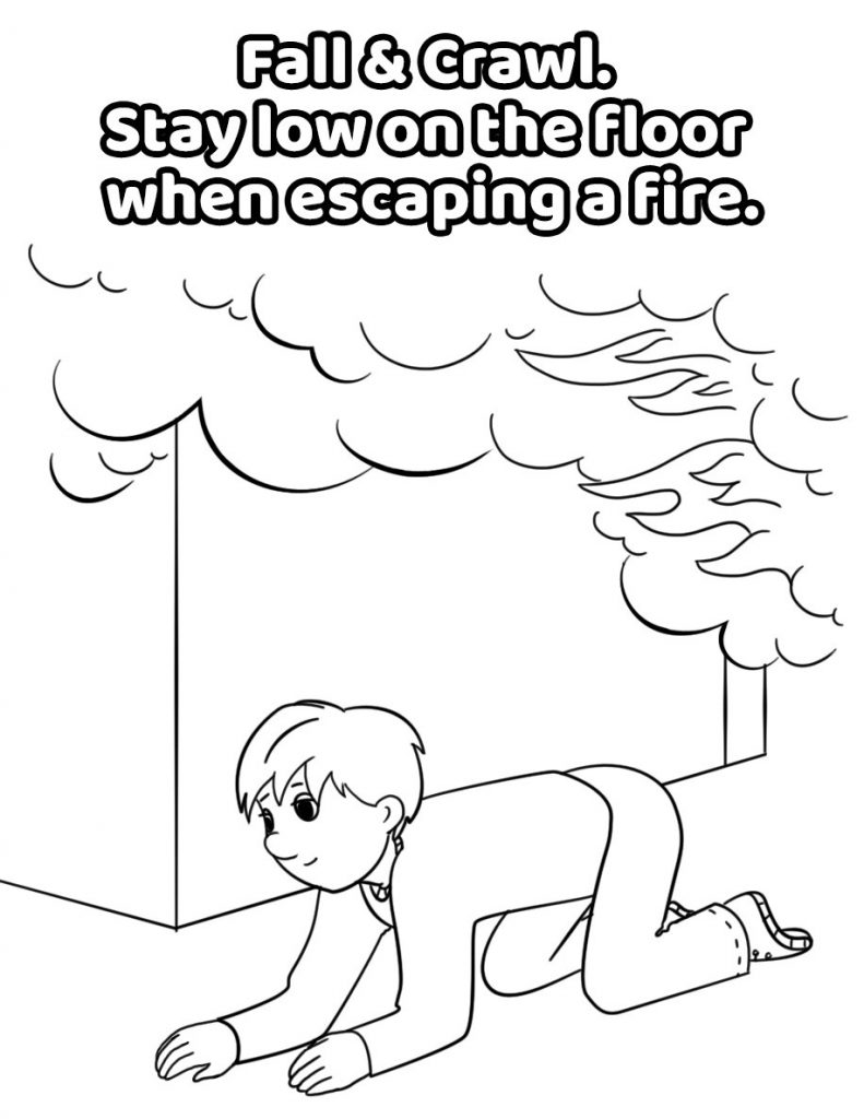 Fall and Crawl Fire Safety Coloring Pages