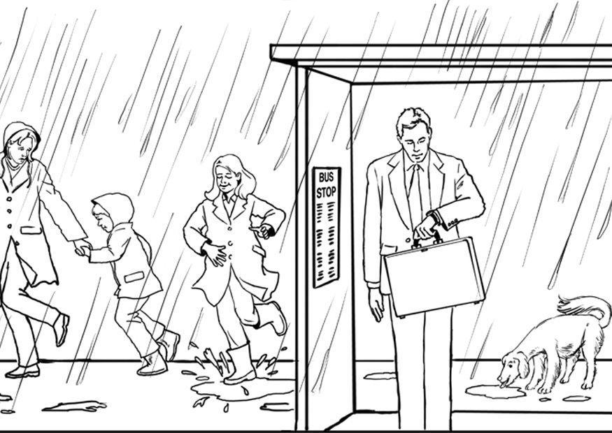 Family in the Rain Coloring Pages