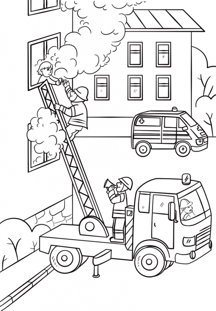 Fire Fighter Saving Child Coloring Page
