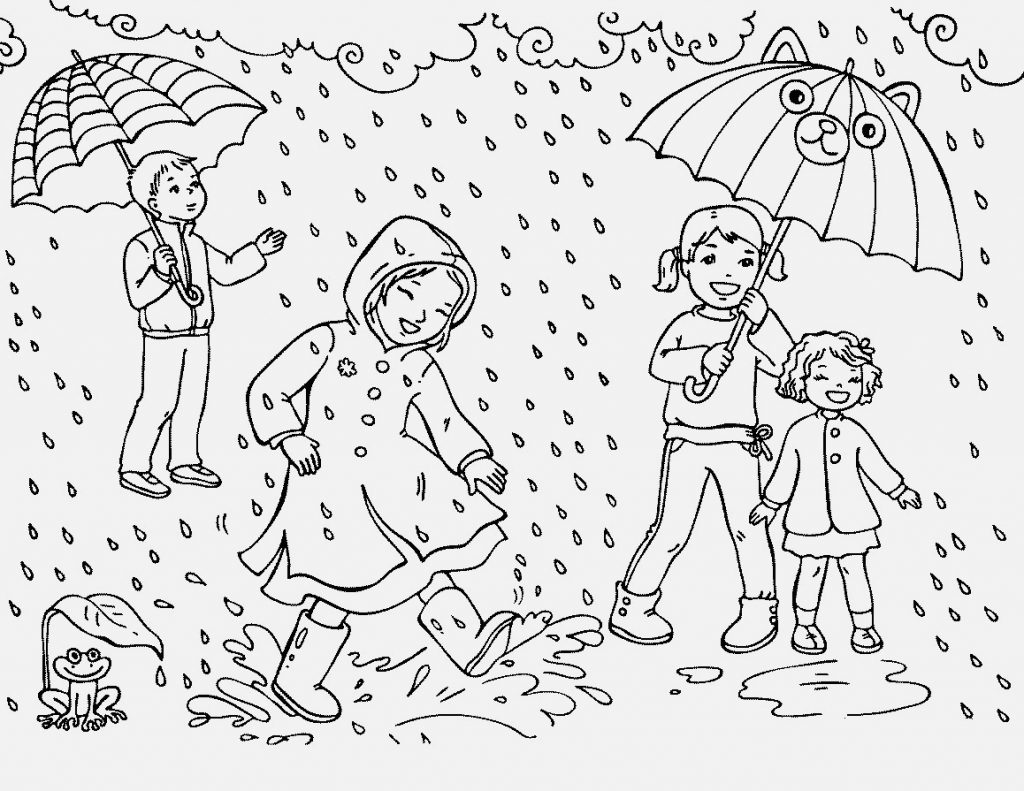 Fun Rain Coloring Pages