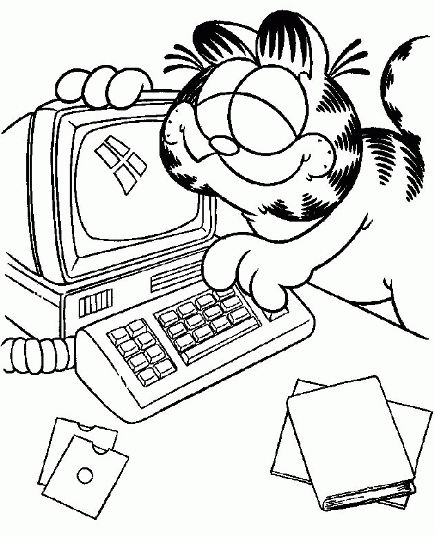 Garfield Computer Coloring Pages