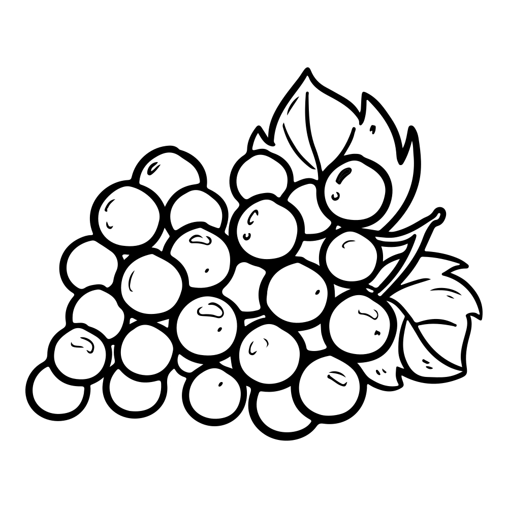 Grape Bunch Printable Coloring Pages