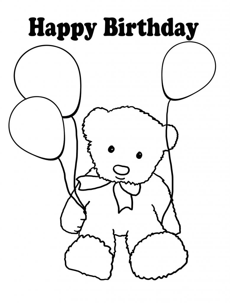 Happy Birthday Balloon Coloring Page
