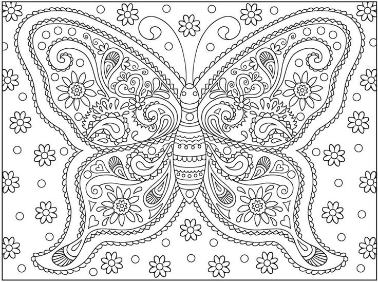 Hard Butterfly Coloring Page