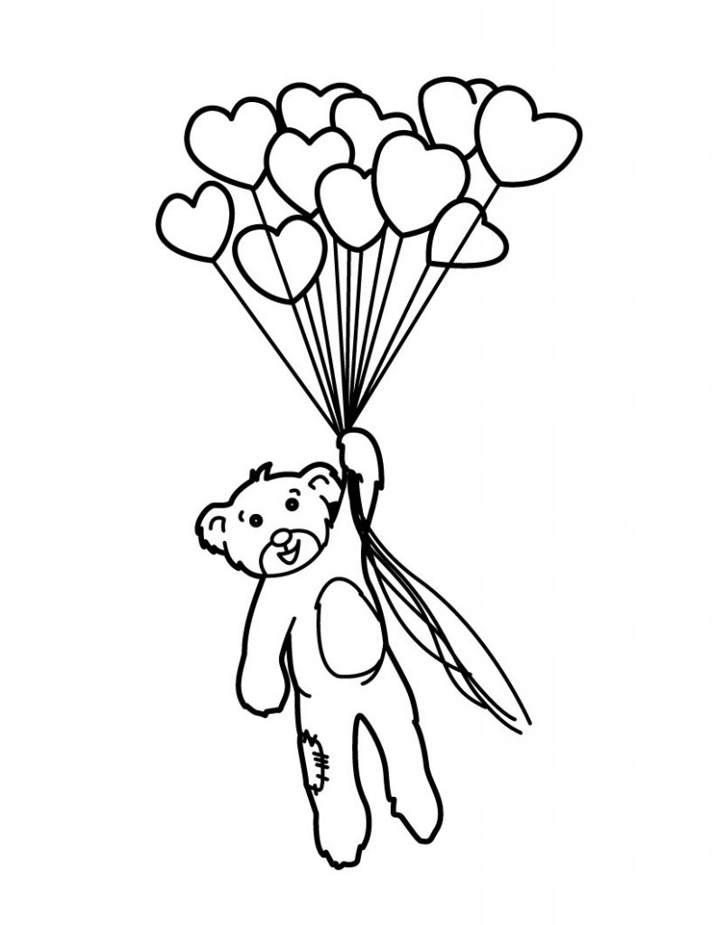 Heart and Bear Balloons Coloring Page