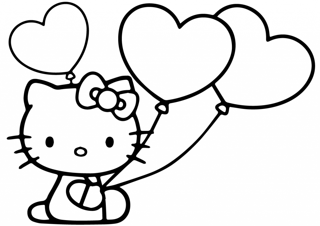 Hello Kitty Balloon Coloring Page