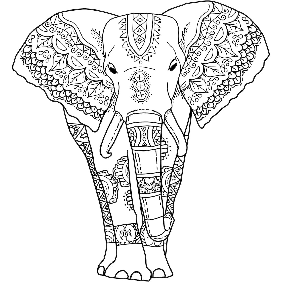 India Elephant Coloring Pages for Adults