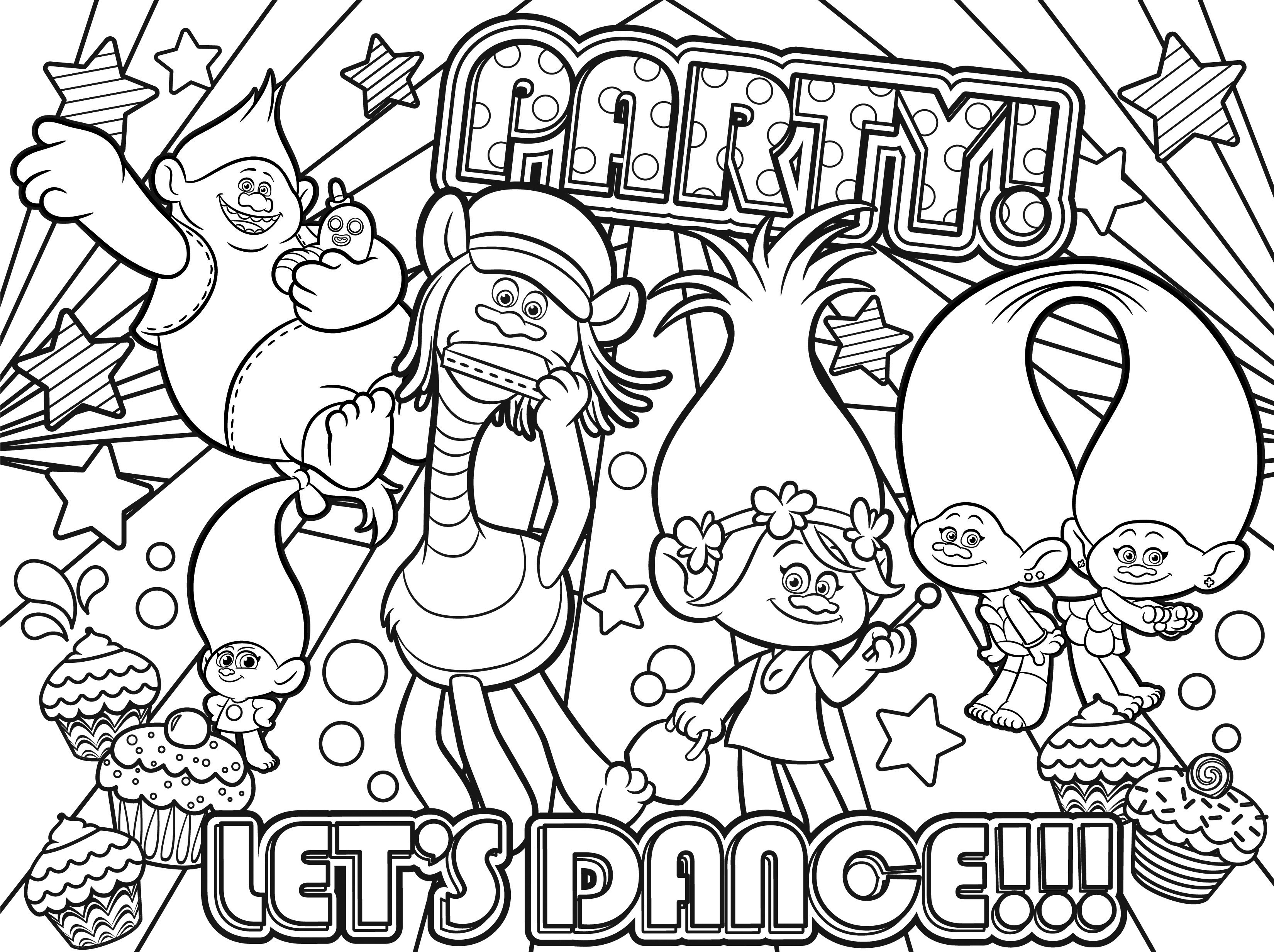 Lets Dance Poppy Coloring Pages