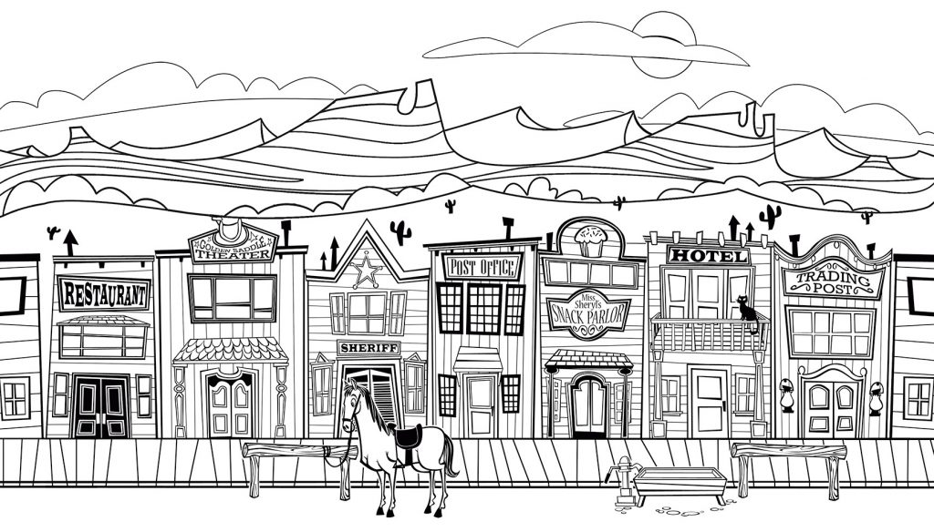 Old West City Coloring Pages