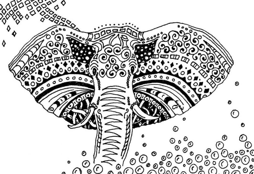 Pattern Elephant Coloring Pages for Adults