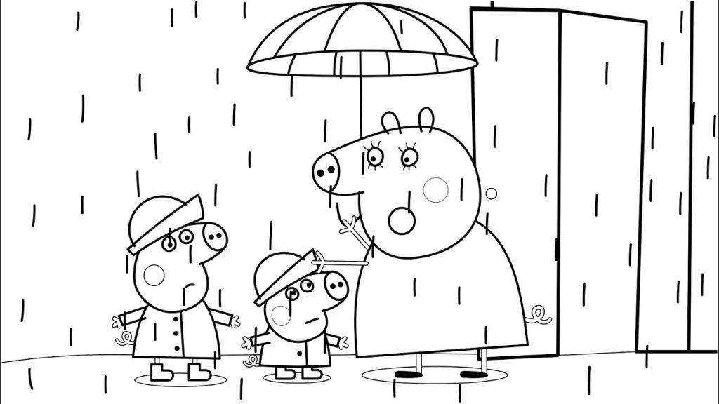 Peppa Pig in the Rain Coloring Pages