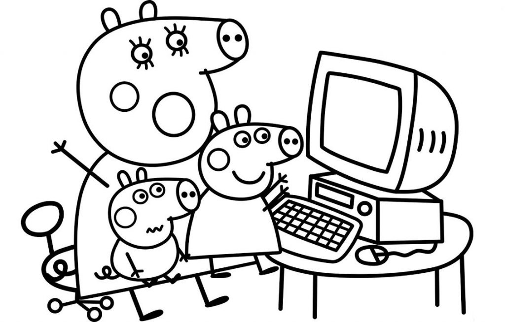 Peppa on Computer Coloring Pages