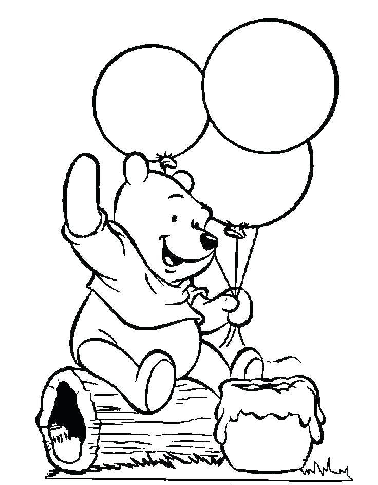 Pooh Bear Balloon Coloring Page