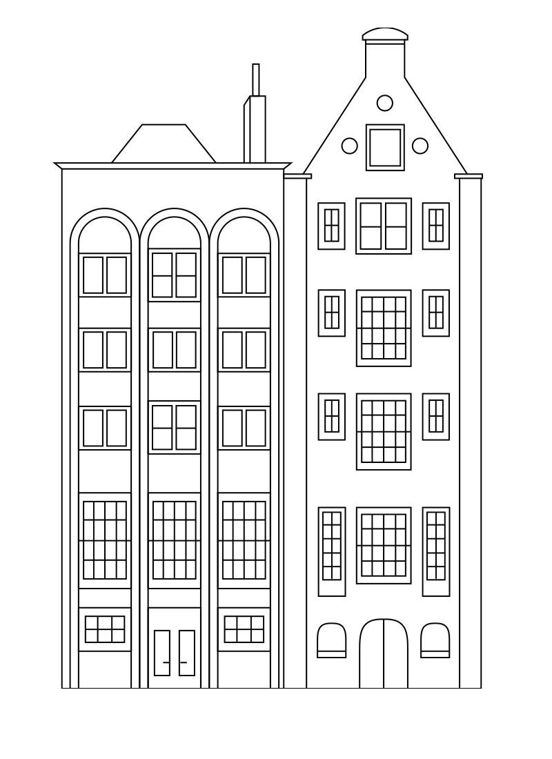 Раскраска многоэтажный домик с окошками распечатать